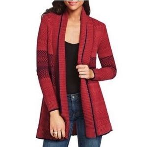 CAbi Joy Cardigan Sweater Open Front Knit Red Blue